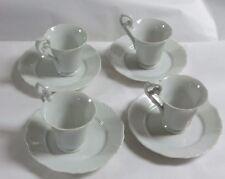 Vintage  8 piece White Porcelain  Tea Cups and Plates