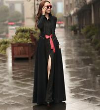 Womens Shirt Long Dresses Belt A Line Maxi Button Club long Fashion Simple Black