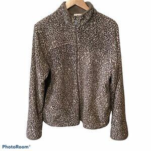 Stan Herman Women's Brown Tan Animal Print Zip Front Fleece Jacket Coat L Euc