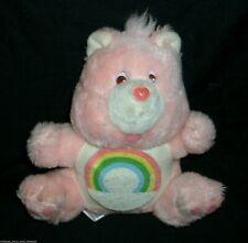 "9"" VINTAGE 1984 CARE BEARS CHEER BEAR PINK RAINBOW STUFFED ANIMAL PLUSH TOY BANK"