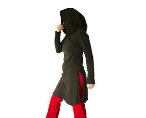 Gothic Hooded jacket - Black Fleece Pixie Hoodie  - Tibetan  Asymmetric - hippie
