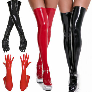 Women's PU Leather Wetlook Shiny High Stockings Long Gloves Disco Party Clubwear