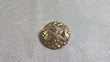 Disk Brooch Pin Made in Canada Vintage Textured Goldtone Metal Maple Leaf