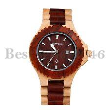 Mens Wooden Watches Date Analog Quartz Lightweight Handmade Wood Wrist Watch