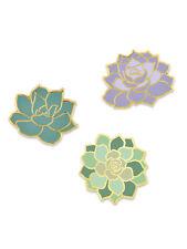 Lover Enamel Lapel Pin Set PinMart's 3-Piece Succulent Flower Plant