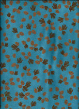 New aqua pinecones cotton flannel fabric by the 1/4 yard