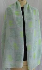 ladies large scarf neon owl print shawl wrap sarong beach quality rrp £12.95!