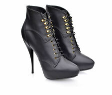 Viktor & Rolf black  Women's Lace Up Ankle Boot Black Damen Stiletto Schwarz