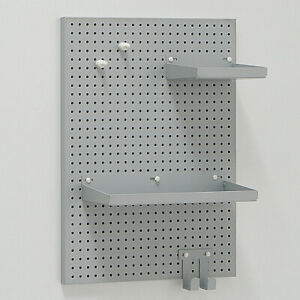 Industrial Grey Iron Metal Wall Mounted Memo Magnet Shelving Board Sign W/ Hooks