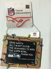 Seattle Seahawks Chirstmas Tree Ornament Chalkboard All I want is a Superbowl