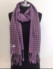 Women Blanket Scarf Wrap Shawl Plaid Cozy Pashmina Silk Soft Lavender #P07