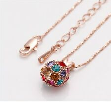 Gorgeous and unique Swarovski Crystal Colorful Ball Necklace, 18k Goldfilled