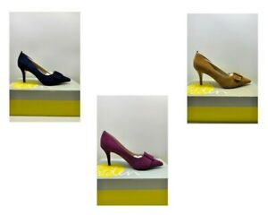 Boden High Heel Court Leather Shoe Suede Blue, Purple or Yellow