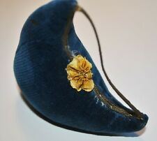 Antique Sewing Pin Cushion, Blue Velvet And Gold Metallic Trim, Cotton Stuffed