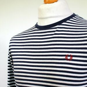 """Fred Perry Breton Stripe T-Shirt Jumper (S/M/40"""" - French Navy) Mod 60's Scooter"""