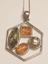 Silver Baltic Amber Necklace Pendant Honey Green Cognac Sterling Silver Chain