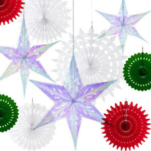 CHRISTMAS HONEYCOMB BALL FAN STAR HANGING Birthday Wedding Home Party Decoration