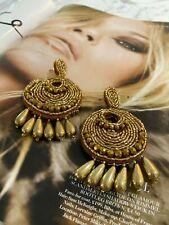 Beaded Tassel Statement Earrings Bnw Latoir Instagram Fashion Blogger Gold Round