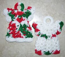 PAIR OF CHRISTMAS MINI ANGEL POTHOLDERS, Crochet, HOLIDAY COLORS, New, HANDMADE