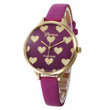 Ladies Fashion Gold Case Hot Pink & Gold Heart Design Face Slim Band Wrist Watch