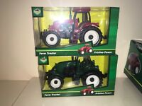 """RED AND GREEN PLASTIC 6"""" FRICTION TOY FARM TRACTORS NEW BOXED"""