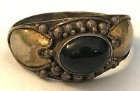 Sz6.5 Ring w/ Beaded Design & Oval Onyx Black Stone Nice 925 Sterling Silver