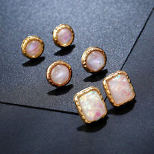 Earrings 3 Pairs 9ct Gold Over Stud Hoops Set Fire Opal Gift Summer Holiday #