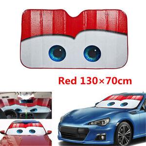 Aluminium Foil Car Visor Window Windshield Sun Shade Cover Red Big Eyes Cartoon