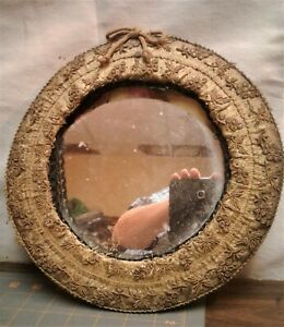Antique Folk Art Victorian Round Gold Beaded Looking Glass Wall Mirror 1910s