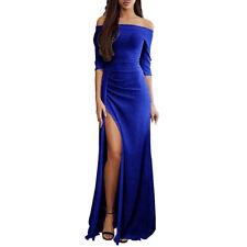 Women One Off Shoulder High Split Evening Party Cocktail Prom Maxi Long Dress UK