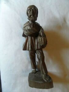 Wood Carved Statue Man with basket backpack bear feet Folk Art 12 inches