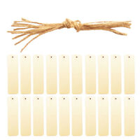 20x Rectangle Wood Pieces Wooden Bookmark Scrapbooking DIY Crafts w/ String