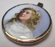 Victorian 8ct Gold Fine Hand Painted Miniature Porcelain Portrait Child Pendant
