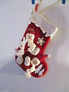 red/white Dimensional skiing snowmen velvet stocking