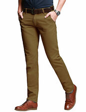 Mens Chino Trousers Stallion Slim Fit Cotton Jeans Pants Designer Khakis New all