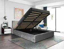 Istanbul Ottoman End Lifting Bed in New Grey Suede Fabric 4ft6 Double Bed Frame