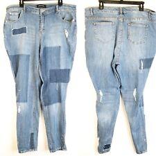 Ashley Stewart Jeans Plus Size 16 Distressed Patchwork Splatter Skinny Stretch