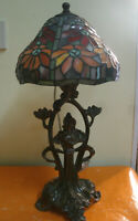 Bellissima Antica LAMPADA da Tavolo Vetro a MOSAICO Colorato d 20 cm, h 44 cm