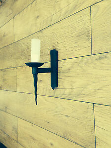 Wrought Iron British Hand Forged Single Wall Light with Glass Diffuser