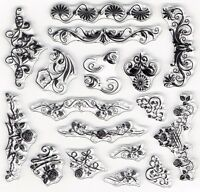Ornate Floral Flower Set of 17 Clear Cling Stamps