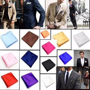 22 Styles Silk Satin Pocket Square Hankerchief Hanky Plain Solid Color Fashional