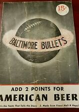 RARE 1947 - 1948 BAA BALTIMORE BULLETS - ST. LOUIS BOMBERS BASKETBALL PROGRAM