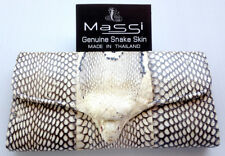 Genuine Real Anaconda Snake  Skin Leather Trifold Clutch Natural Wallet