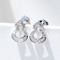 Elegant 925 Silver Stud Earrings Women White Sapphire Jewelry A Pair/set