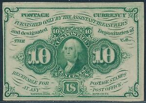 FR1242 10¢ 1ST ISSUE STRAIGHT EDGES W/ MONOGRAM FRACTIONAL CURRENCY AU BS4763