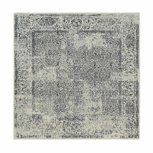 8'x8' Fine Jacquard Wool and Silk Hand Loomed Light Gray Square Rug R63257