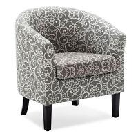 Modern Club Chair Tub Barrel Fabric Seat Armchair Accent Living Room, Grey
