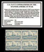 1937 - NAVY COMMANDERS - #793 - Mint -MNH- Block of  Vintage Postage Stamps