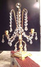 ORNATE BRASS AND GLASS TWO  CANDLE HOLDER WITH A. HUNDRED GLASS CRYSTAL PRISMS