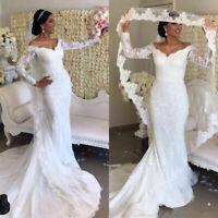 Vintage Mermaid Long Sleeves Wedding Dresses V Neck Illusion Lace Bridal Gowns